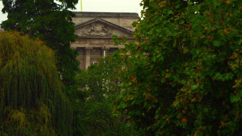 Glimpse of Buckingham Palace amongst trees Footage