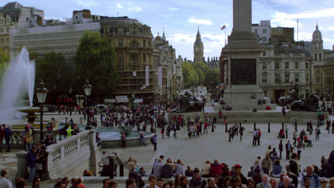 Trafalgar Square fountains and Nelson's monument Footage