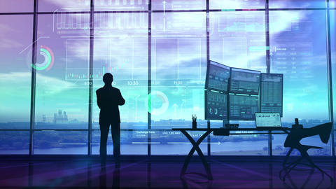 Trader in the big office and stock exchange infographics Animation