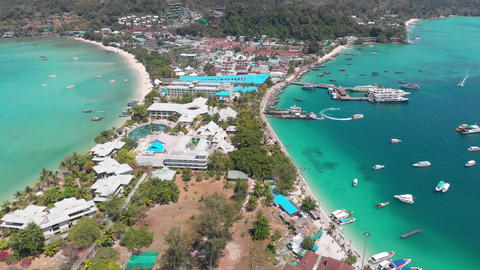 Aerial Panoramic of a Island Phi Phi in Thailand Footage