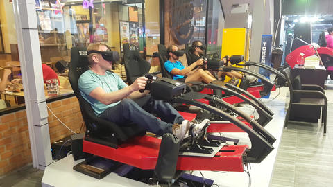 Men wearing glasses of virtual reality play a game Footage