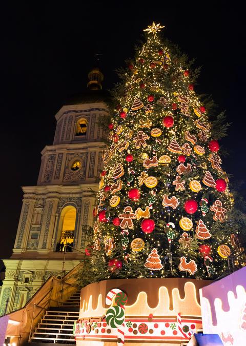 New Year tree on Sophia Square in Kyiv, Ukraine Fotografía