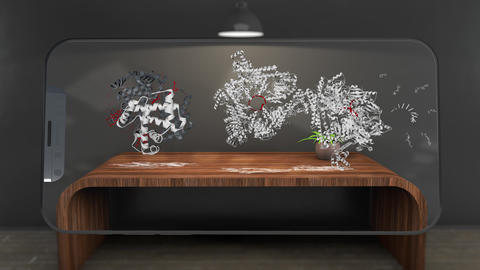 4K Watching Molecules by Phone Augmented Reality Scientific Concept Animation