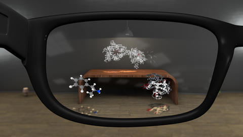 4K Watching Molecule Models with AR Glasses Concept Animation