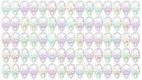 4K Multicolor Looping Crystal Skulls Halloween Comic Art Animation