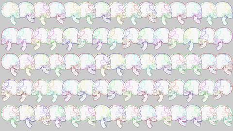 4K Multicolor Crystal Skulls Halloween Comic Art Animation