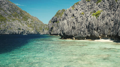 Beautiful shore on the island in philippines with very clear sea water Footage
