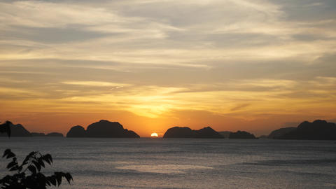 Beautiful sunset over small islands in philippines Footage