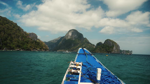 On the boat trip in philippines with beautiful view Stock Video Footage