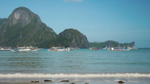Philippines boats into the bay in el nido Footage