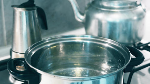4K Boiling Water in Metal Pot Stock Video Footage
