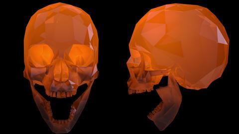 4K Crystal Skulls Loop with Transparent Background Orange Animation