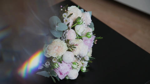Bouquet of fresh roses. Festive bouquet of fresh flowers.... Stock Video Footage
