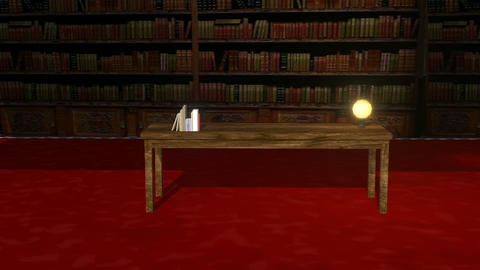 Animated Old Library Scene Animation