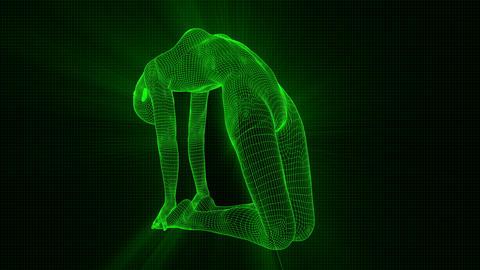 4K Futuristic Android AI Woman Yoga Camel Seamless Loop Animation