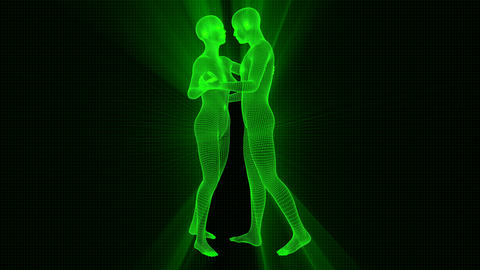 4K Futuristic Wireframe Android AI Shine Couple Dancing Seamless Loop Animation
