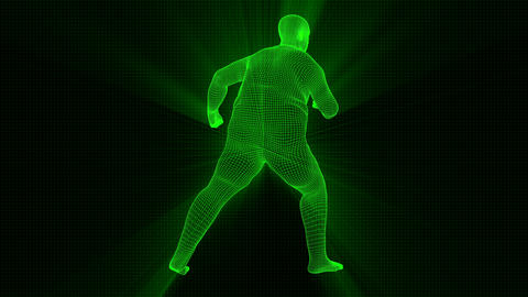 4K Futuristic Wireframe Android AI Shine Obese Man Fighting Seamless Loop Animation