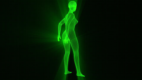 4K Futuristic Wireframe Android AI Shine Woman Sexy Pose Seamless Loop Animation