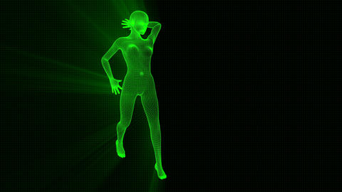 4K Futuristic Wireframe Android AI Shine Woman Standing Sexy Seamless Loop Animation