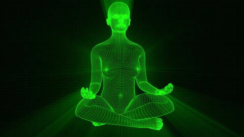 4K Futuristic Wireframe Android AI Shine Woman Yoga Lotus Meditation Seamless Loop Animation