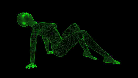 4K Futuristic Wireframe Android AI Woman Sexy Sitting Pose Seamless Loop Animation