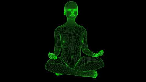 4K Futuristic Wireframe Android AI Woman Yoga Lotus Meditation Seamless Loop Animation