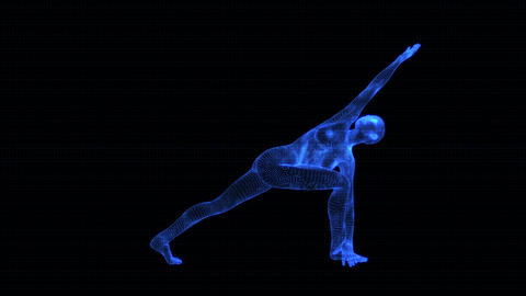 4K Holographic Future Android AI Woman Yoga Revolved Side Seamless Loop Animation