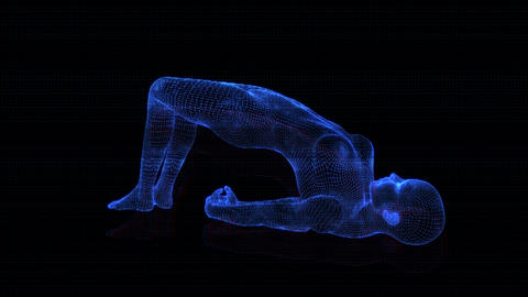 4K Holographic Future Android AI Woman Yoga Upward Facing Seamless Loop Animation