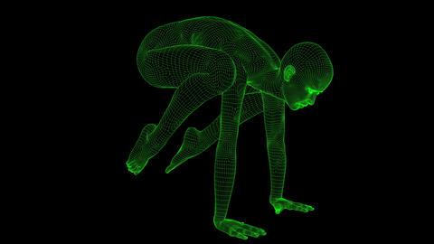 4K AI Android Woman Yoga Pose Crane Seamless Loop Animation