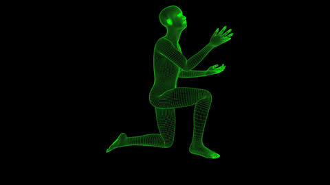 4K Futuristic Wireframe Android AI Man Begging Asking on Knee Seamless Loop Animation