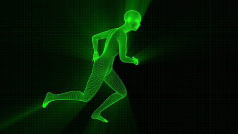 4K Futuristic Wireframe Android AI Shine Woman Running Seamless Loop Animation