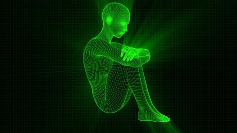 4K Futuristic Wireframe Android AI Shine Woman Sitting Sad Seamless Loop Animation