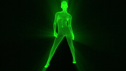 4K Futuristic Wireframe Android AI Shine Woman Standing Confident Seamless Loop Animation