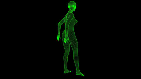 4K Futuristic Wireframe Android AI Woman Sexy Pose Seamless Loop Animation