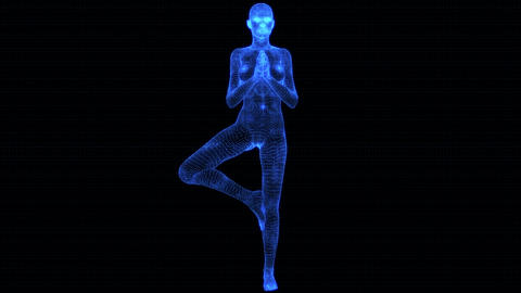 4K Holographic Future Android AI Woman Yoga Tree Seamless Loop Animation