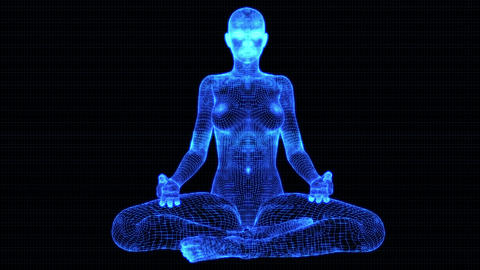 4K Holographic Future Android AI Woman Yoga Meditation Seamless Loop Animation
