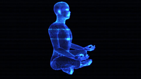 4K Holographic Futuristic Wireframe Android AI Man Lotus Meditation Seamless Loop Animation