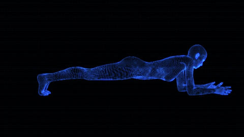 4K Holographic Future Android AI Woman Yoga Planking Seamless Loop Animation