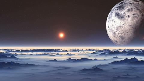 Flight over Alien Planet Animation