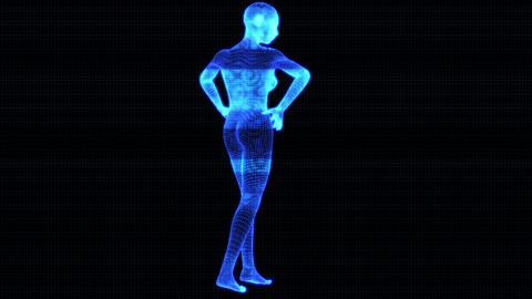4K Holographic Futuristic Wireframe Android AI Woman Standing Seamless Loop Animation