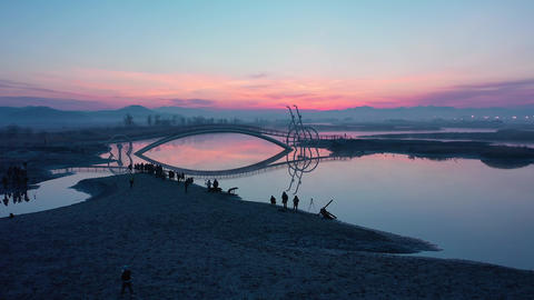 Air view, Drone Shot of Bicycle Bridge and sunrise in South Korea.A place to watch the sunrise in Archivo