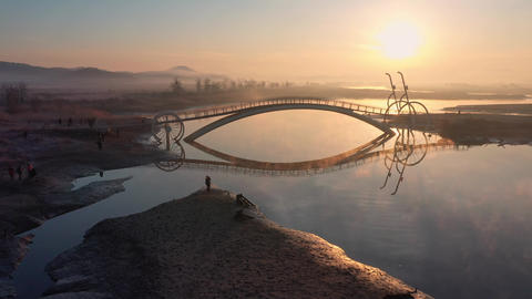 Bicycle Bridge in South Korea.A place to watch the sunrise in South Korea.The River and the sunrise Live Action
