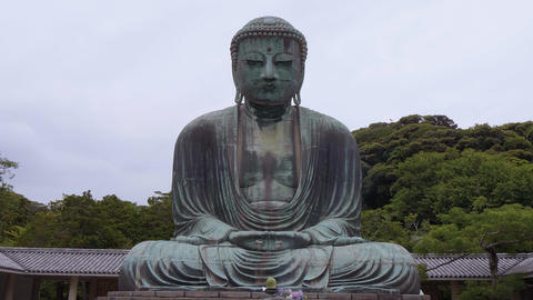 World famous Daibutsu Buddha - the Great Buddha Statue in Kamakura Footage