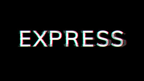 From the Glitch effect arises text EXPRESS. Then the TV turns off. Alpha channel Premultiplied - Animation