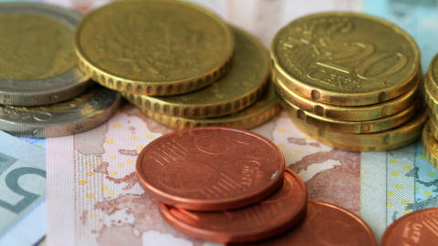 4K. Euro Coins And Banknotes. Shot Slider Stock Video Footage