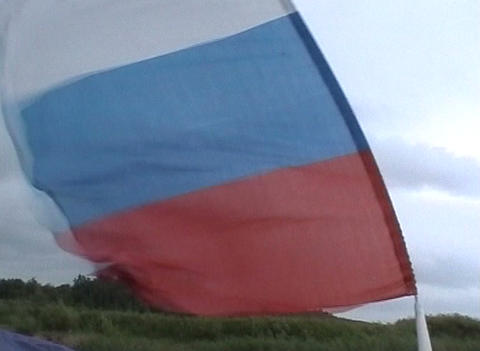Flags In The Wind stock footage