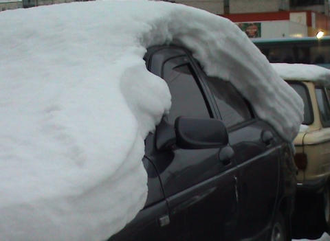 The car filled up with snow Footage