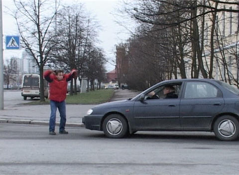 Conflict of driver and pedestrian Stock Video Footage