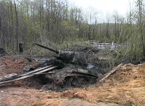 T-34 tank taken out of the swamp Stock Video Footage