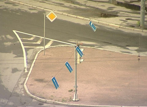 Wind and road signs Stock Video Footage